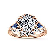 Caspia 18k Rose Gold Round Halo Engagement Ring