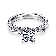 Cassidy 14k White Gold Round Twisted Engagement Ring angle 1