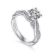 Cassidy 14k White Gold Round Twisted Engagement Ring angle 3