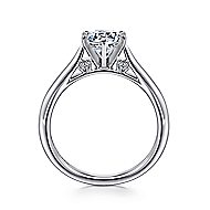 Cassie 14k White Gold Round Solitaire Engagement Ring angle 2