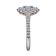 Cate 14k White And Rose Gold Oval Double Halo Engagement Ring angle 5