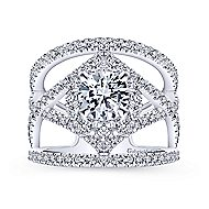 Catena 14k White Gold Round Halo Engagement Ring angle 5