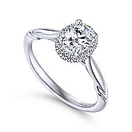 Catherine 14k White Gold Oval Halo Engagement Ring
