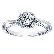 Celeste 14k White Gold Round Halo Engagement Ring angle 5