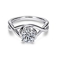 Celine 14k White Gold Round Twisted Engagement Ring angle 1