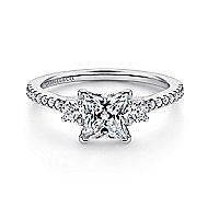 Chantal 14k White Gold Princess Cut 3 Stones Engagement Ring angle 1