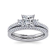 Chantal 14k White Gold Princess Cut 3 Stones Engagement Ring angle 4