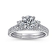 Chantal 14k White Gold Round 3 Stones Engagement Ring angle 4
