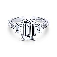 Charlene 18k White Gold Emerald Cut 3 Stones Engagement Ring angle 1