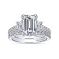 Charlene 18k White Gold Emerald Cut 3 Stones Engagement Ring angle 4