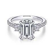 Charlene 18k White Gold Emerald Cut 3 Stones Engagement Ring