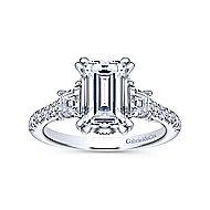 Charlene 18k White Gold Emerald Cut 3 Stones Engagement Ring angle 5