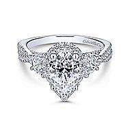 Charlene 18k White Gold Pear Shape 3 Stones Engagement Ring angle 1