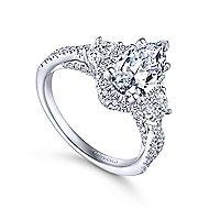Charlene 18k White Gold Pear Shape 3 Stones Engagement Ring angle 3
