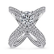 Chasma 18k White Gold Round Split Shank Engagement Ring angle 4