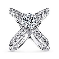 Chasma 18k White Gold Round Split Shank Engagement Ring angle 5