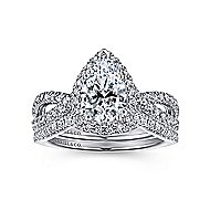 Chatham 14k White Gold Pear Shape Twisted Engagement Ring