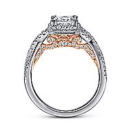 Chia 14k White And Rose Gold Princess Cut Halo Engagement Ring