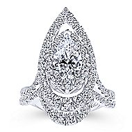 Chiara 18k White Gold Pear Shape Double Halo Engagement Ring angle 4