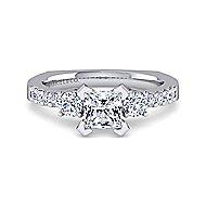 Chloe 14k White Gold Princess Cut 3 Stones Engagement Ring angle 1