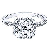 Cindy 18k White Gold Princess Cut Halo Engagement Ring