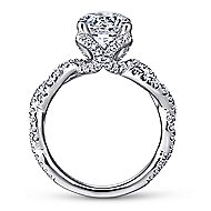 Clancy 18k White Gold Round Twisted Engagement Ring angle 2