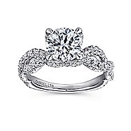 Clancy 18k White Gold Round Twisted Engagement Ring angle 5