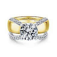 Clark 18k Yellow And White Gold Round Split Shank Engagement Ring angle 1