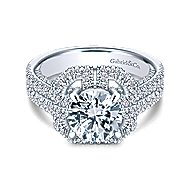 Clayton 14k White Gold Round Halo Engagement Ring angle 1