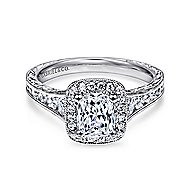 Clementine 14k White Gold Cushion Cut Halo Engagement Ring angle 1