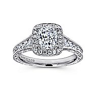 Clementine 14k White Gold Cushion Cut Halo Engagement Ring angle 5