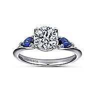 Cleo 18k White Gold Round 3 Stones Engagement Ring angle 5