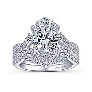 Clyde 18k White Gold Round Split Shank Engagement Ring angle 4