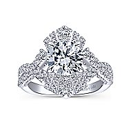 Clyde 18k White Gold Round Split Shank Engagement Ring angle 5