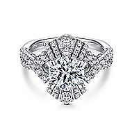 Clyde 18k White Gold Round Twisted Engagement Ring angle 1
