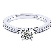 Cora 14k White Gold Cushion Cut Solitaire Engagement Ring