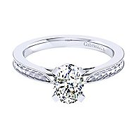 Cora 14k White Gold Oval Solitaire Engagement Ring