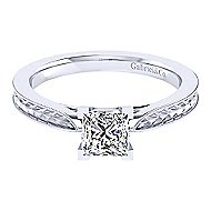 Cora 14k White Gold Princess Cut Solitaire Engagement Ring