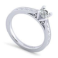 Cora 14k White Gold Round Solitaire Engagement Ring angle 3