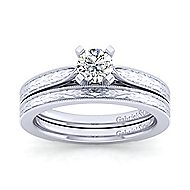 Cora 14k White Gold Round Solitaire Engagement Ring angle 4