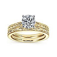 Cora 14k Yellow And White Gold Round Solitaire Engagement Ring