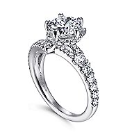Coralee 14k White Gold Round Split Shank Engagement Ring