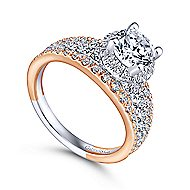Corbin 18k White And Rose Gold Round Halo Engagement Ring angle 3