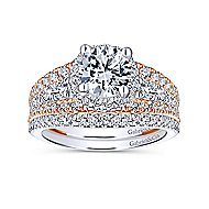 Corbin 18k White And Rose Gold Round Halo Engagement Ring angle 4