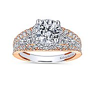 Corbin 18k White And Rose Gold Round Halo Engagement Ring angle 5