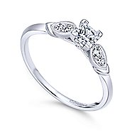 Cordelia 14k White Gold Princess Cut Straight Engagement Ring angle 3