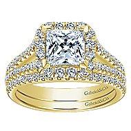 Corinna 14k Yellow Gold Princess Cut Halo Engagement Ring angle 4