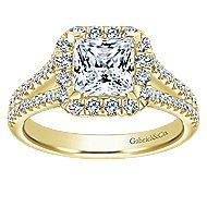 Corinna 14k Yellow Gold Princess Cut Halo Engagement Ring angle 5