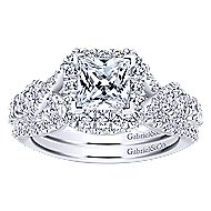 Corinthia 14k White Gold Princess Cut Halo Engagement Ring angle 4