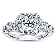 Corinthia 14k White Gold Princess Cut Halo Engagement Ring angle 5